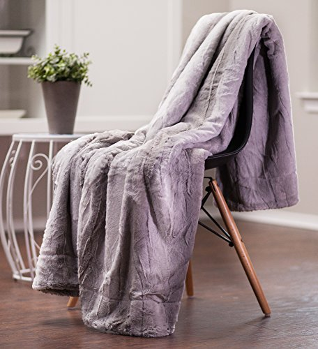 Chanasya Super Soft Fuzzy Fur Elegant Throw Blanket | Faux Fur Falling Leaf Pattern With Fluffy Plush Sherpa Cozy Warm Grey Microfiber Blanket for Bed Couch Living Bed Room - Grey and White 50%OFF