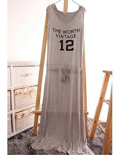 PU&PU Robe Aux femmes Décontracté Col Arrondi Maxi Mélanges de Coton , black-one-size , black-one-size
