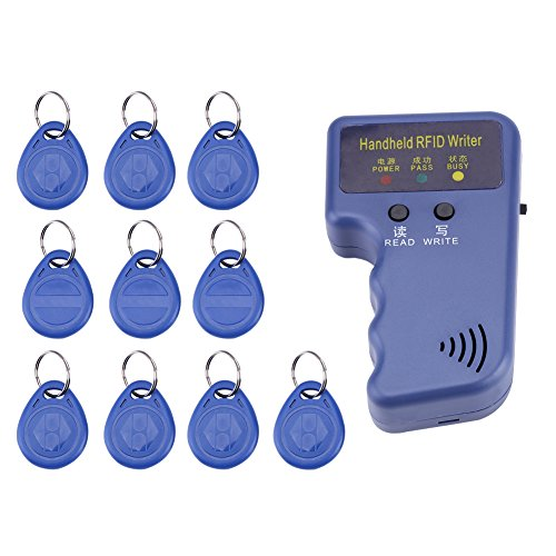Handheld RFID Writer,125KHz Portable RFID Writer/Copier/Reader/Duplicator with Remote Controls 10PCS ID Tags