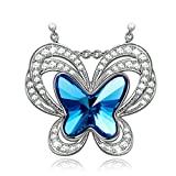 Kate Lynn Womens Fine Jewelry Butterfly Swarovski Crystal Pendant Necklace for Women for Her Birthday Gifts for Wife Ladies Gift