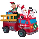 Inflatable Christmas Santa Fire Truck Scene Lighted Holiday Seasonal Yard Décor