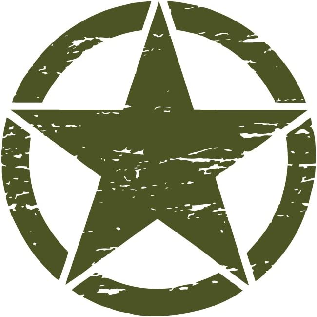 The Pixel Hut gs00235 13 Army Green Distressed Military Star Hood Decal