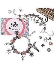 Charm Bracelet Making Kit DIY Craft European Bead Silver Plated Snake Chain Jewelry Gift Set for Girls Teens