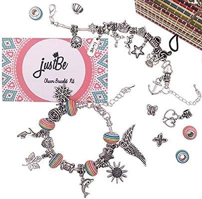 01039c6c281c Kit Artesanía DIY Hacer Pulseras con Colgantes Europeo Set Regalo Joyería  Cadena de Serpiente Plateada Abalorios. Cargando imágenes.