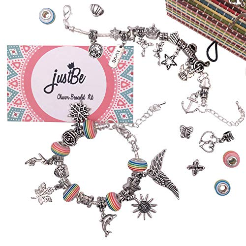 justBe Charm Bracelet Making Kit DIY Craft European Bead Silver Plated Snake Chain Jewelry Gift Set for Girls Teens ()