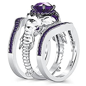 Milgrain Halo Round Cut Purple Amethyst 14K White Gold Plated 3pcs Engagement Wedding Band Elephant Fashion Ring Set (5.5)
