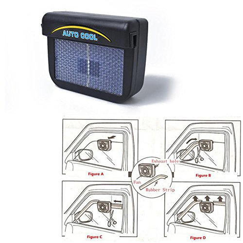 BEESCLOVER Car Solar Energy Air Exhaust Fan Energy-Saving Cooling Fans Universal Use Black 0.3W