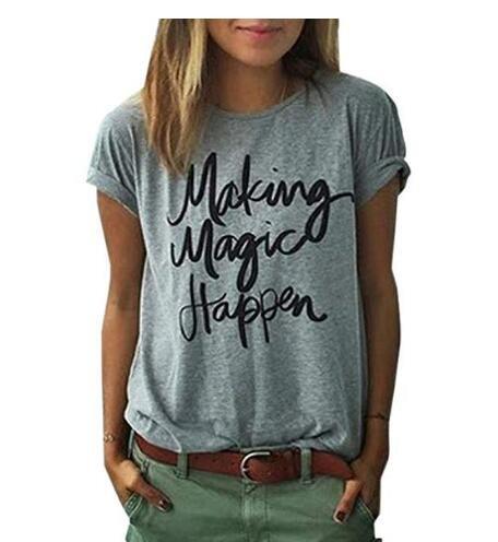 Danapp stile casual alfabeto inglese making Magic Happen a maniche corte t-shirt da donna, Cotone, White M, 1 Gray 2xl