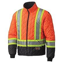 Pioneer V1170150-XL High Visibility Quilted Freezer Jacket, Orange, XL