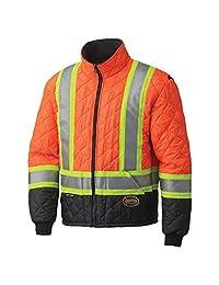 Pioneer V1170150-L High Visibility Quilted Freezer Jacket, Orange, L