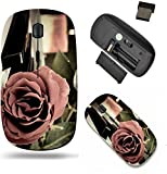 Liili Wireless Mouse Travel 2.4G Wireless Mice with USB Receiver, Click with 1000 DPI for notebook, pc, laptop, computer, mac book Red rose on the synthesizer keyboard and burning candle in the backgr