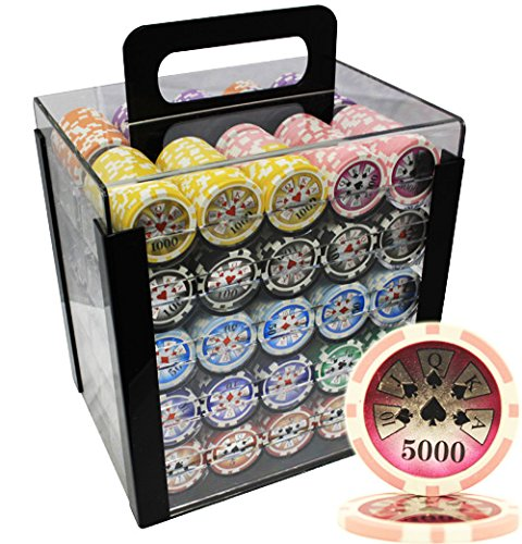 MRC 1000pcs High Roller Laser Poker Chips Set with Acrylic Case Custom Build by Mrc Poker