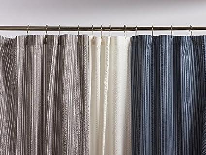 Coyuchi Organic Cotton Seersucker Shower Curtain White Stripe
