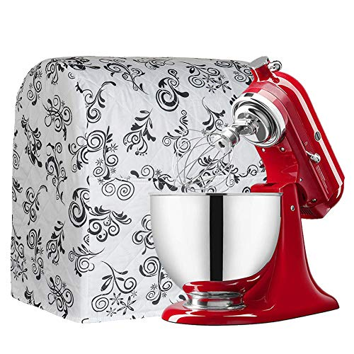 Stand Mixer Dust Cover Cotton Quilted Kitchen Aid Mixer Cover for Kitchen aid to Keep Clean and Safe,Compatible with All 6-8 Quart Kitchen Aid Mixers CYFC365 (White spindrift) (Kitchenaid Blue Mixer Cover)