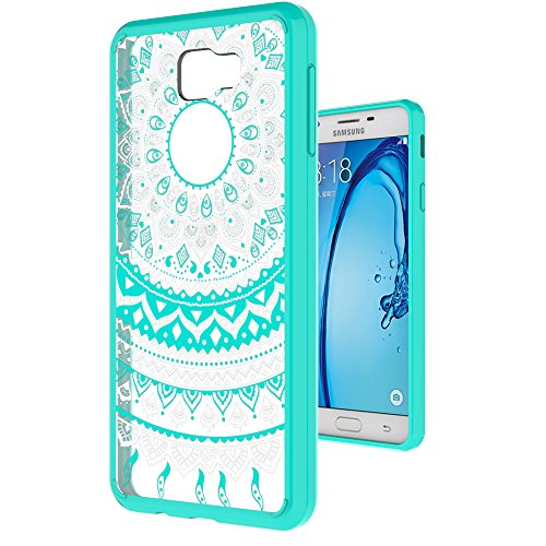Galaxy J7 Prime Case (Only Fit G610 2016 Unlocked International, Not Fit MetroPcs and T-Moible 2017) with HD Screen Protector,AnoKe Mandala Slim Cute Case For Samsung Galaxy J7 Prime TM CH Mint (Case Coors Light)