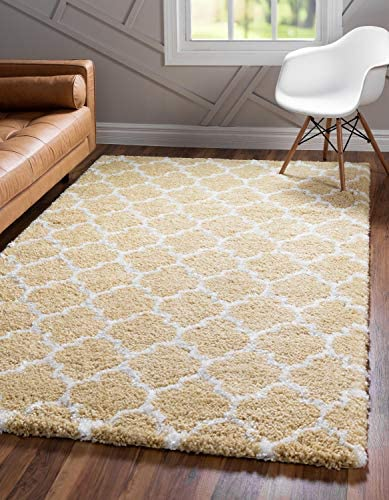 Unique Loom Rabat Shag Collection Lattice Trellis Geometric Moroccan Plush Yellow Area Rug 8' 0 x 10' 0