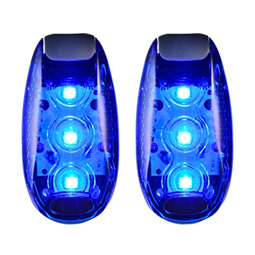 CFIKTE [2 Pack] 3 Modes LED Safety Light Blue Flashing with Free Clip on Straps Sport Running Warning Strobe Tail Lights for Dog Collar, Walking, Cycling, Bike, Helmet,Etc(Batteries Included) (Blue)