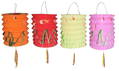 DMtse 10CM Prosperity Mix Color Chinese New Year Paper Lanterns - 10 cm (12 Pack)]()