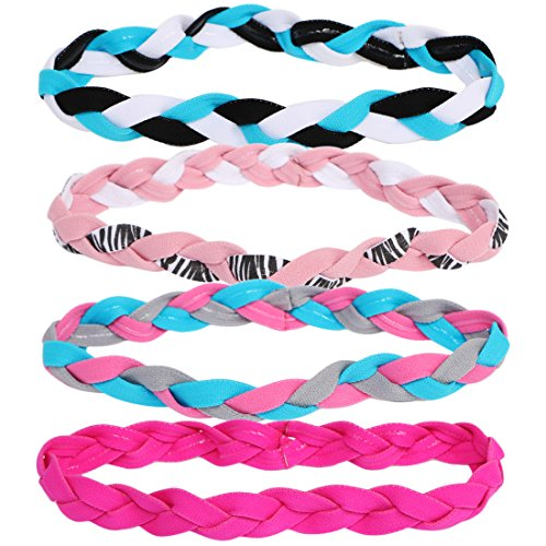 (kilofly 4pc Girls Nonslip Grip Braided Headbands Teens Sports Hair Elastic Bands )
