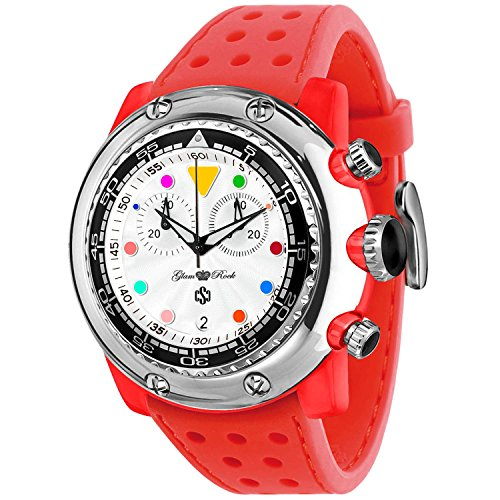 GLAM ROCK MEN'S MIAMI BEACH 50MM RED SILICONE BAND QUARTZ ANALOG WATCH GR20137