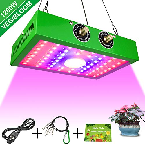 Remon 1200W LED Grow Light, Adjustable Veg&Bloom Switch Full Spectrum Growing Lamps Double Chips for Indoor Plants Seeding Veg and Flower