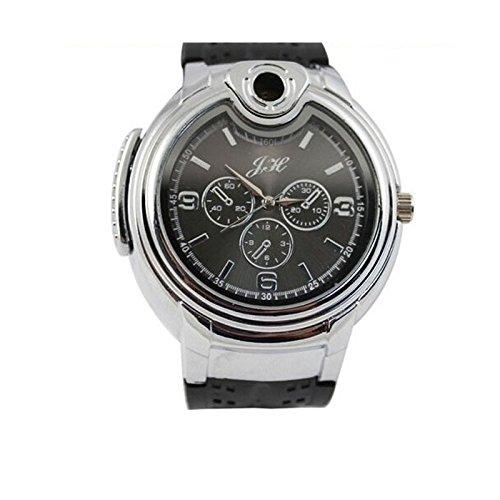 Jiameng Reloj de pulsera, Fuego hinchable mecheros relojes nuevos Gas Butano Recargable relojes militares más ligeros Hombres la Vigilanza cuarzo puros ...