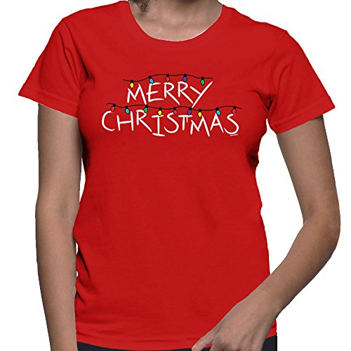 Women's Merry Christmas T-Shirt (Red, Small)