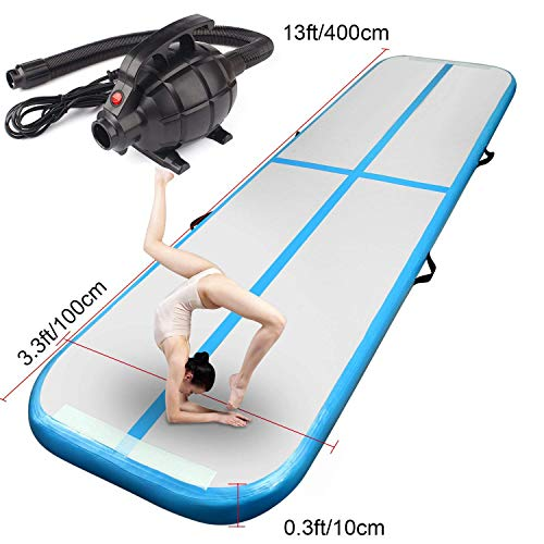 FBSPORT Inflatable Gymnastics AirTrack Tumbling Mat Air Track Floor Mats with Electric Air Pump for Home Use/Training/Cheerleading/Beach/Park and Water (Blue, 4)