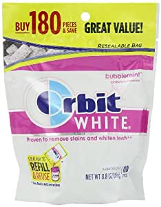 Orbit White Bubblemint Sugarfree Gum, 180 piece refill bag