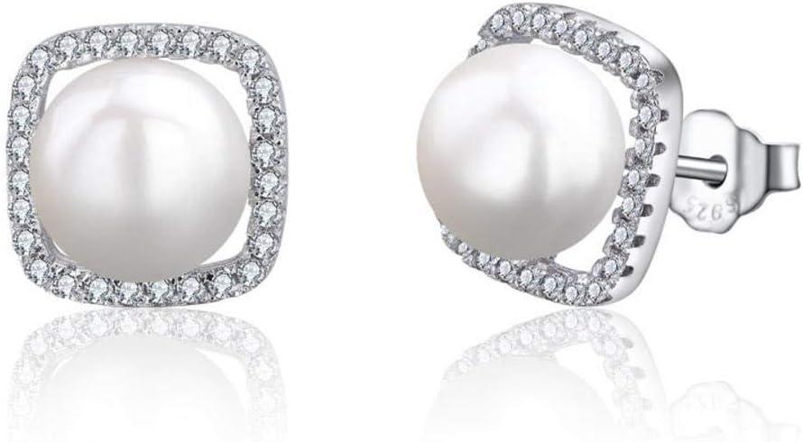 S&RL Pendientes de Plata para Mujer Pendiente de Botón Pendiente Simple Joya de Oreja S925 Pendiente de Diamante de Plata Esterlina Pendiente de Perla Geométrica MujerPernos de cuentas, Plata 925