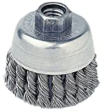 Radnor RAD64000354 3 1/2'' x 5/8'' - 11 Carbon Steel Knot Wire Cup Brush for Use On Small Angle Grinders, English, 15.34 fl. oz, Plastic, 1 x 1 x 1