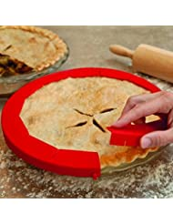 """Transer Adjustable Silicone Pie Crust Shield Pie Protectors, FDA Food-safe Silicone, Fit 8.5"""" - 11.5"""" (Red)"""