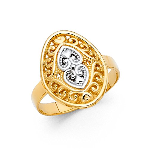 - Oval Two Hearts Ring 14k Yellow White Gold Filigree Polished Design Fancy Solid Two Tone 17MM, Size 7