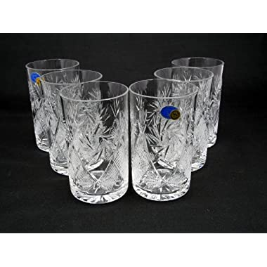 Russian Cut Crystal Drinking Glasses 8 oz for Metal Glass Holder Podstakannik Hot Tea Coffee