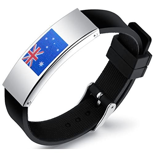 LineAve Men's Stainless Steel Flag and Black Silicone Bracelet for Sports Fan, Adjustable Length - 51RbeyBmckL. SS500 - Getting Down Under Bracelets