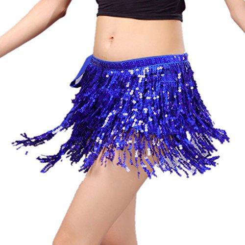 (2019 Vogue Jazz Belly Dance Hip Scarf Jazz Skirt With Four Rows of Sequins Fringe(Dark Blue))