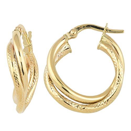 Kooljewelry 10k Yellow Gold High Polish and Diamond-cut Intertwined Hoop Earrings