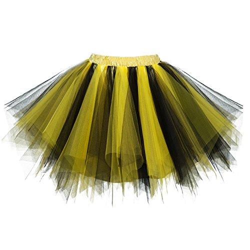 Dressever Vintage 1950s Short Tulle Petticoat Ballet Bubble Tutu Black/Gold -