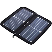ECEEN Solar Panel, 10Watts Solar Charger with Unique Zipper Pack Design for iPhone, iPad, iPods, Samsung, Android Smart Cell Phones and More 5V USB-Charged Devices - Black