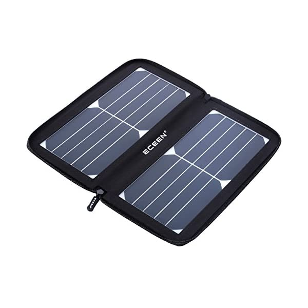 51RbfFlo7qL. SS600  - ECEEN Solar Charger 10W Waterproof Travel Solar Powered Panel Camping Chargers with High Efficiency Sunpower Cells & Smart USB Output for Mobile Phone iPhone Tablets Android Charging Device