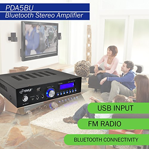Premium Bluetooth Stereo Amplifier, 200 Watt Compact Amp Receiver with Remote Control, FM Antenna and USB/AUX Port by Pyle (Image #7)