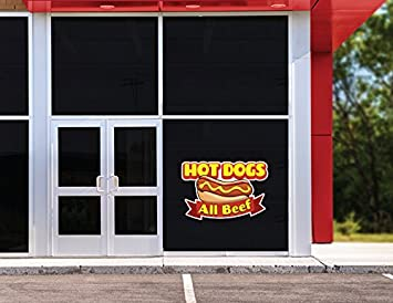 HOT Dogs All Beef 24 Concession Decal Sign cart Trailer Stand Sticker Equipment