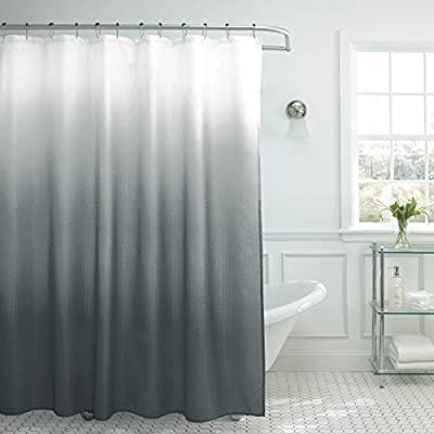 """Creative Home Ideas Ombre Textured Shower Curtain with Beaded Rings, Dark Grey - Set includes (1) 70"""" W x 72"""" L shower curtain and (12) metal hooks with color-coordinated plastic beads Rust-resistant metal rings, reinforced buttonholes, and fade-resistant fabric make these as functional as they are fashionable Vinyl shower curtain liner is recommended and sold separately - shower-curtains, bathroom-linens, bathroom - 51RbfeO1b0L. SS400  -"""