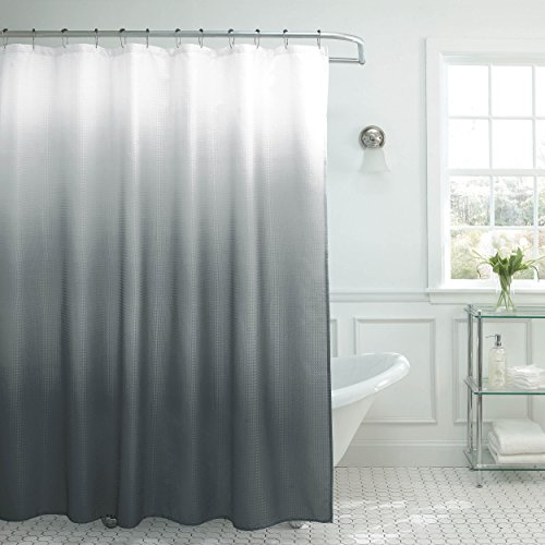 Creative Home Ideas Natural Ombre Textured Shower Curtain With Beaded Rings Dark Grey