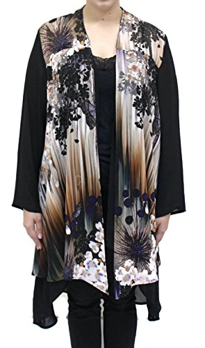 Citron Women's Butterfly Cherry Blossom Silk Cardigan Jacket Plus Size (1X, Black Multi) ()