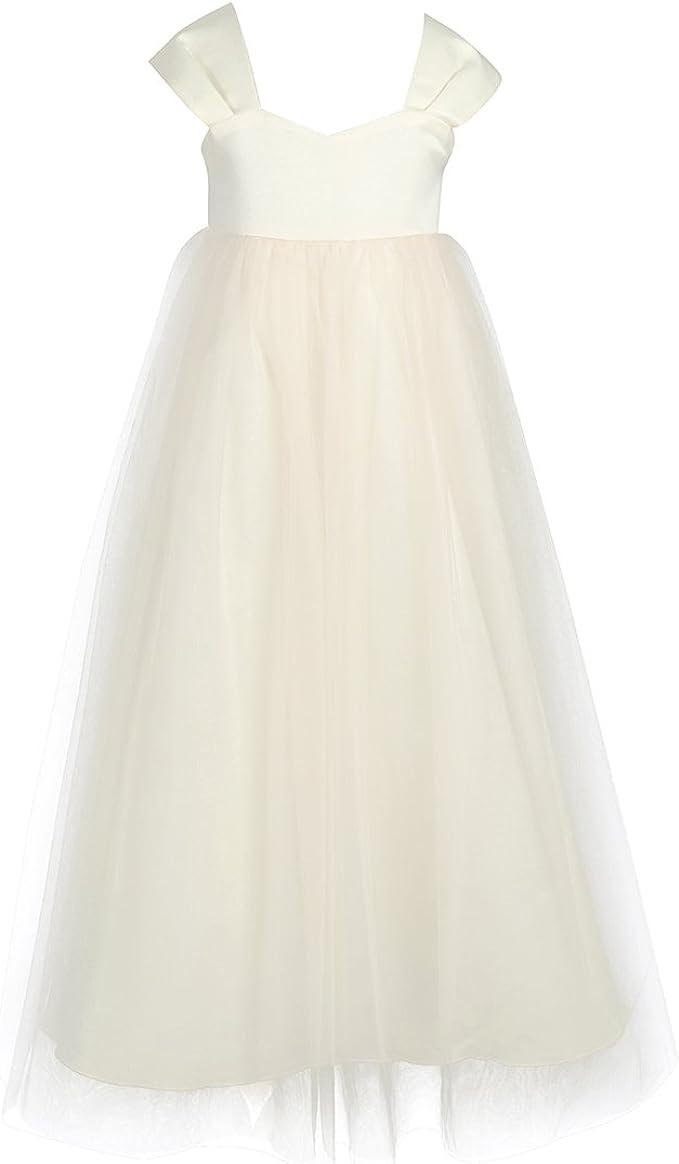 iEFiEL Mädchen Festliche Kleider Lange Brautjungfern Hochzeit Kleider  Blumenmädchen Kleid Party Festzug 10-10
