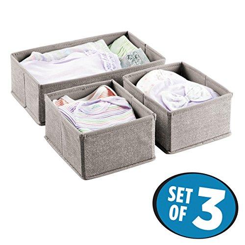 mDesign set da 3 Organizer fasciatoio - Scatola portaoggetti - Per salviettine, bavaglini, asciugamani e altro - ideale come contenitore giocattoli - Colore: grigio MetroDecor 7664MDB