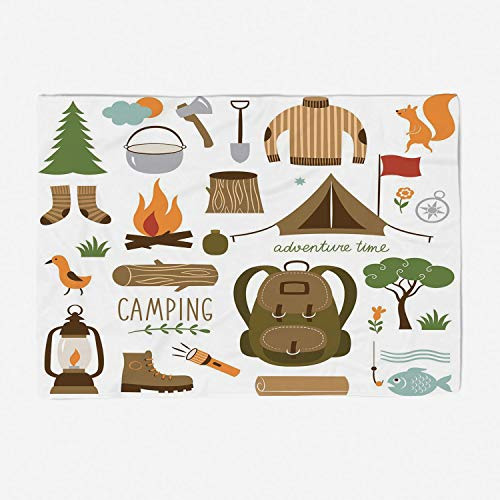 YOLIYANA Throw Blanket Super Soft and Cozy Fleece Blanket Perfect for Couch Sofa or Travelling/59x49 inches/Adventure,Camping Equipment Sleeping Bag Boots Campfire Shovel Hatchet Log Artwork Pri
