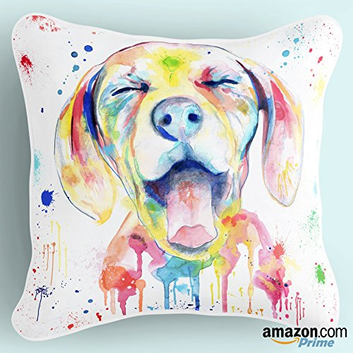 Lume.ly - Colorful Ditzy Puppy Dog Throw Pillow Cushion Cover, Unique Luxury Designer Bright Art (Aqua Yellow White Blue Pink Watercolor) (18x18) (Dog Designer Pillow)