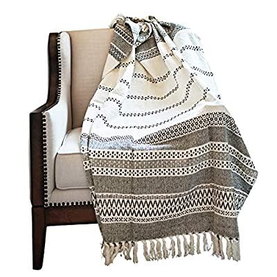 MOTINI 100% Cotton Decorative Blankets Cozy Grey and White Throw Blankets Hand-Knitted with Tassel for Sofa, Couch, 60 x 50 inch - A subtle diamond motif gives this option a pop of pattern while it's fringe trim gives a timeless design that blends effortlessly into any ensemble Fits the rustic, vintage, or distressed look - This cozy throw blanket adds a classic touch and exceptional texture & style to any home to any living, dining, bedroom, home office or foyer with its timeless design and practical size. This beautiful high-quality 100% cotton decorative blanket will last for years to come. It is lightweight making it great for summer and easy transportation between rooms. It measures 60 x 50 inches. - blankets-throws, bedroom-sheets-comforters, bedroom - 51RbgGTJMYL. SS400  -